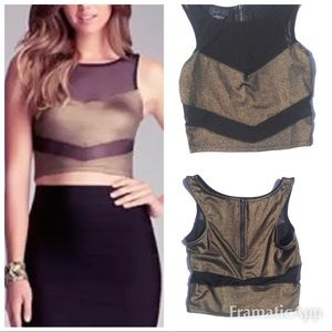 New Bebe black & gold mesh crop top